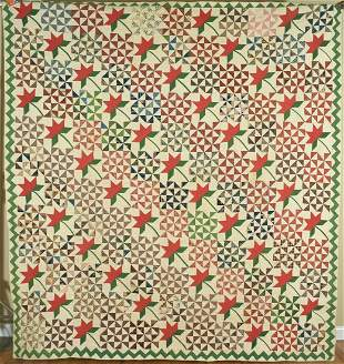 1850's Peony & Broken Dishes Quilt, Zigzag Border
