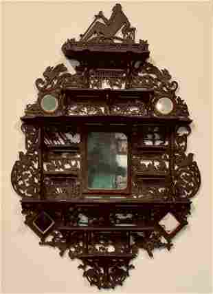 Father Time Wood Filagree Calendar Shelf, c. 1920