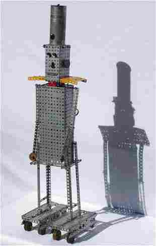 Folk Art robot made from an Erector Set