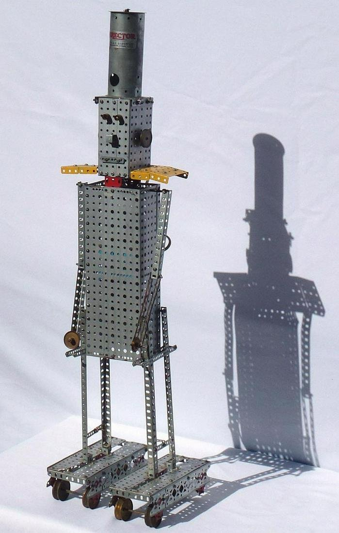 Folk Art robot made from an Erector Set