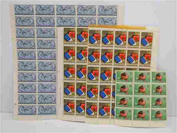 Four Sheets of Foreign Stamps Featuring Still Bank