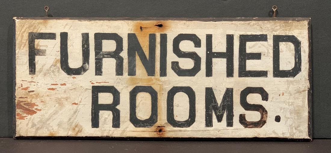 c. 1880  FURNISHED ROOMS. Sign