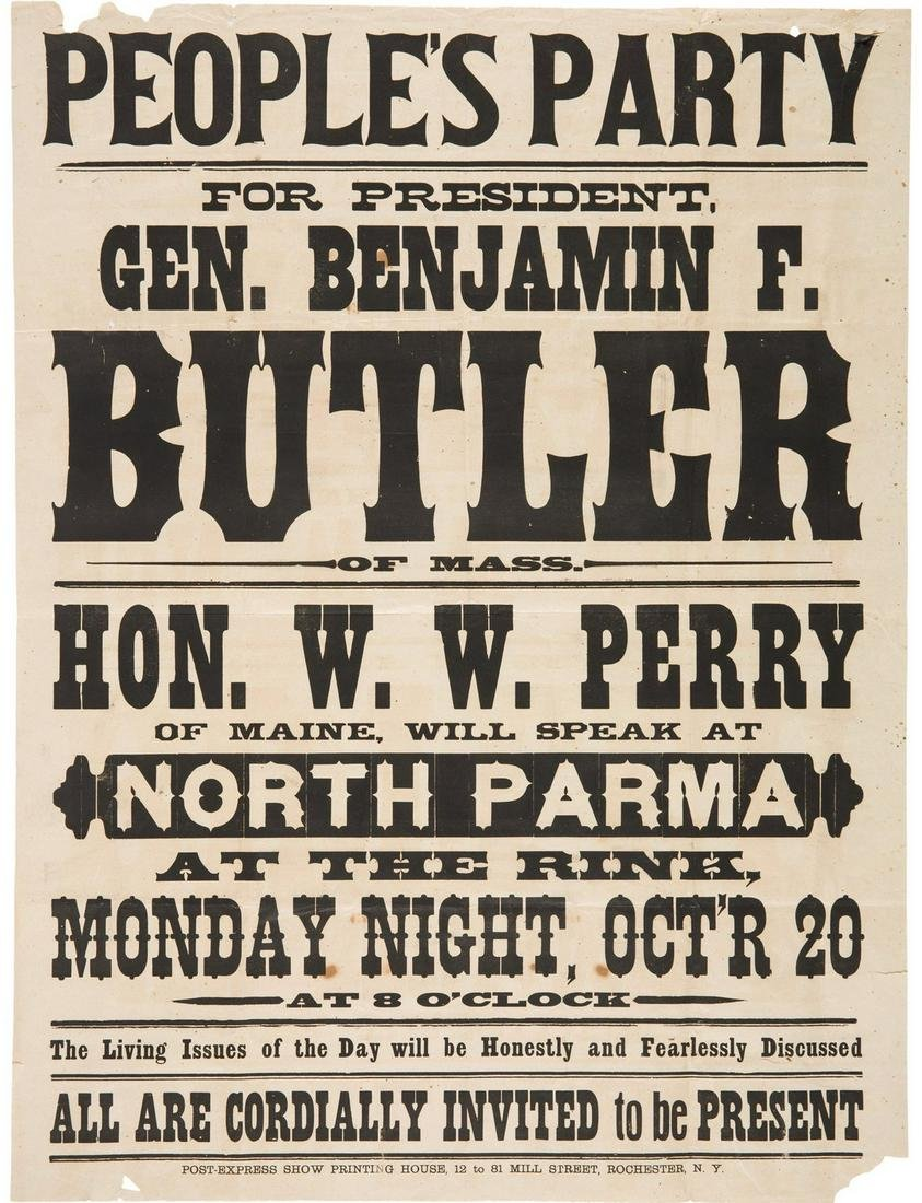 Benjamin F. Butler: Large People's Party Broadside from