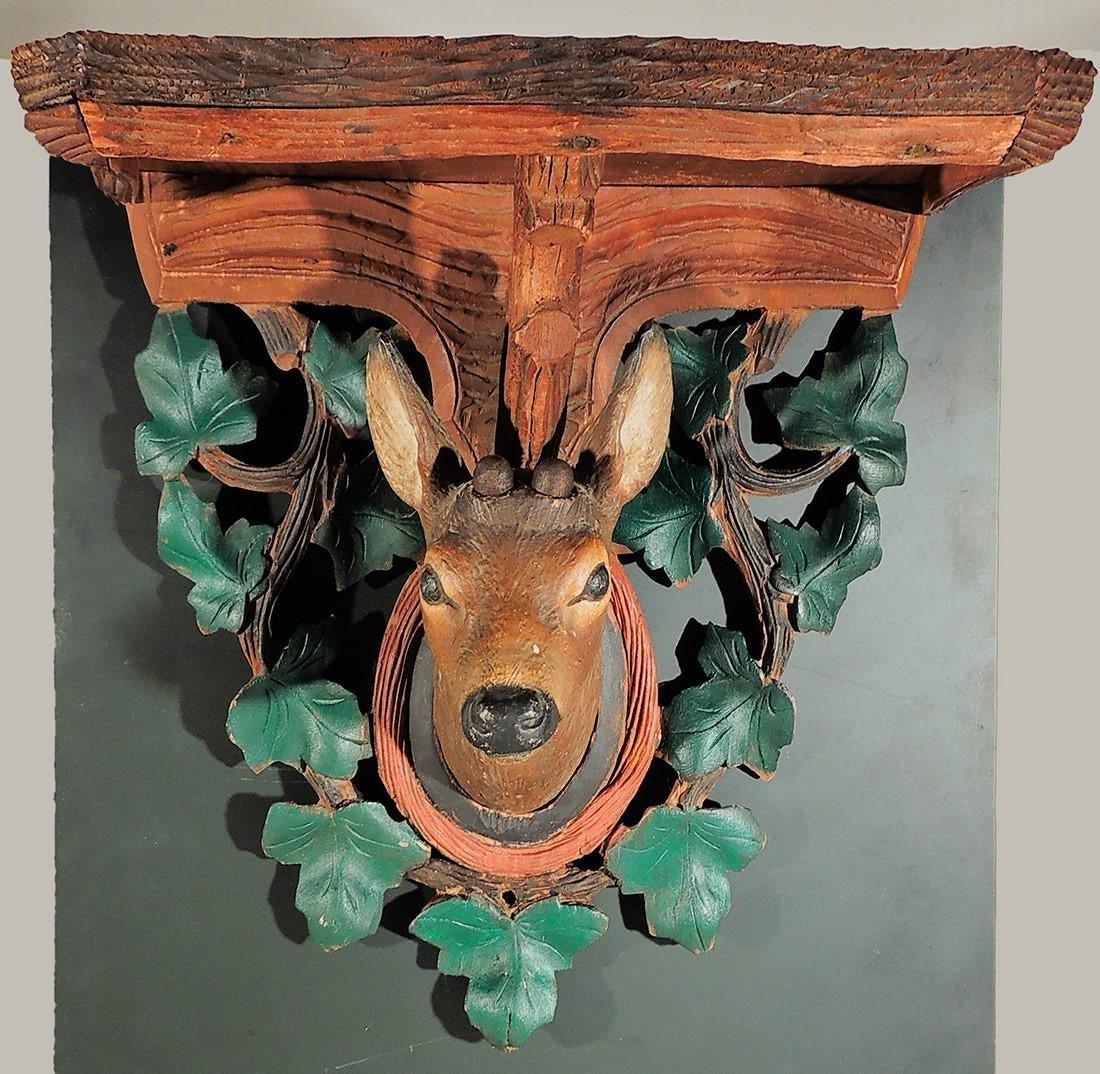 Carved Black Forest Fawn Bracket