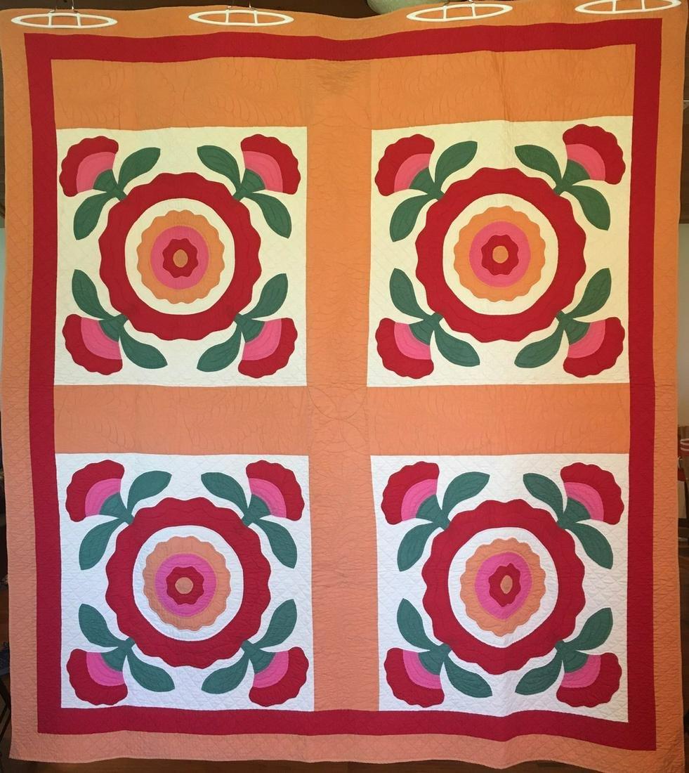 Rose of Sharon Antique Quilt- 4 Block