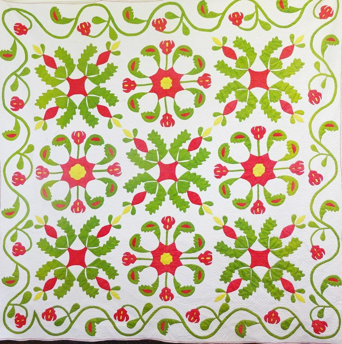 1800's Red, Green, White Applique Ohio Quilt