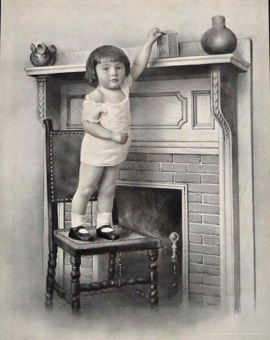 1908 Photograph of Girl Putting Coin in Still Bank