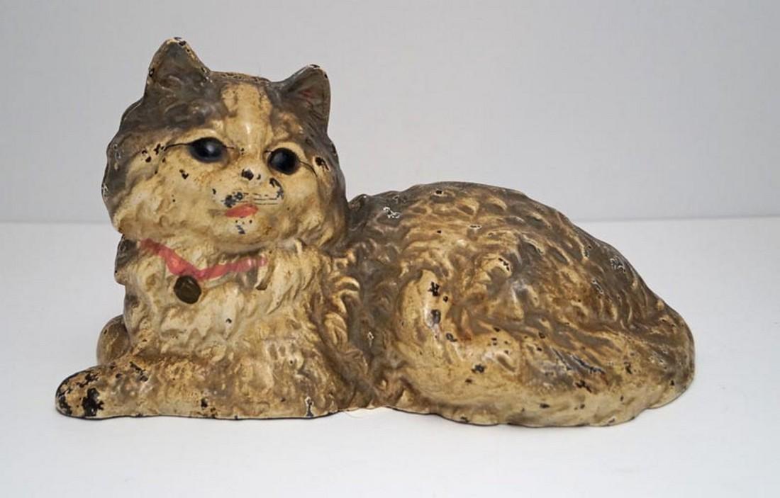Lying Down Tabby Cat Cast Iron Hubley Doorstop