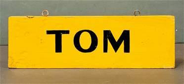 TOM Horse Stall sign, c. 1940