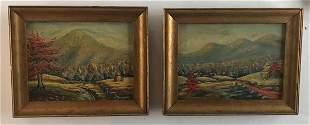 Pair of Oil On Wood Panels signed B Miller