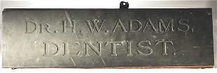 Bronze Dr Adams Dentist Sign