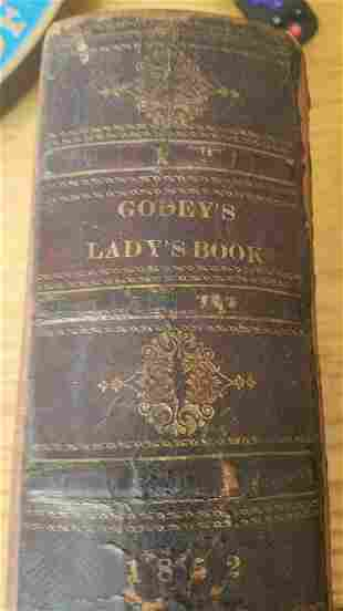 Antique Book Godeys Ladys 1852 colored plates