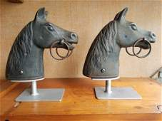 Pair Of Large Horse Head Hitching Posts