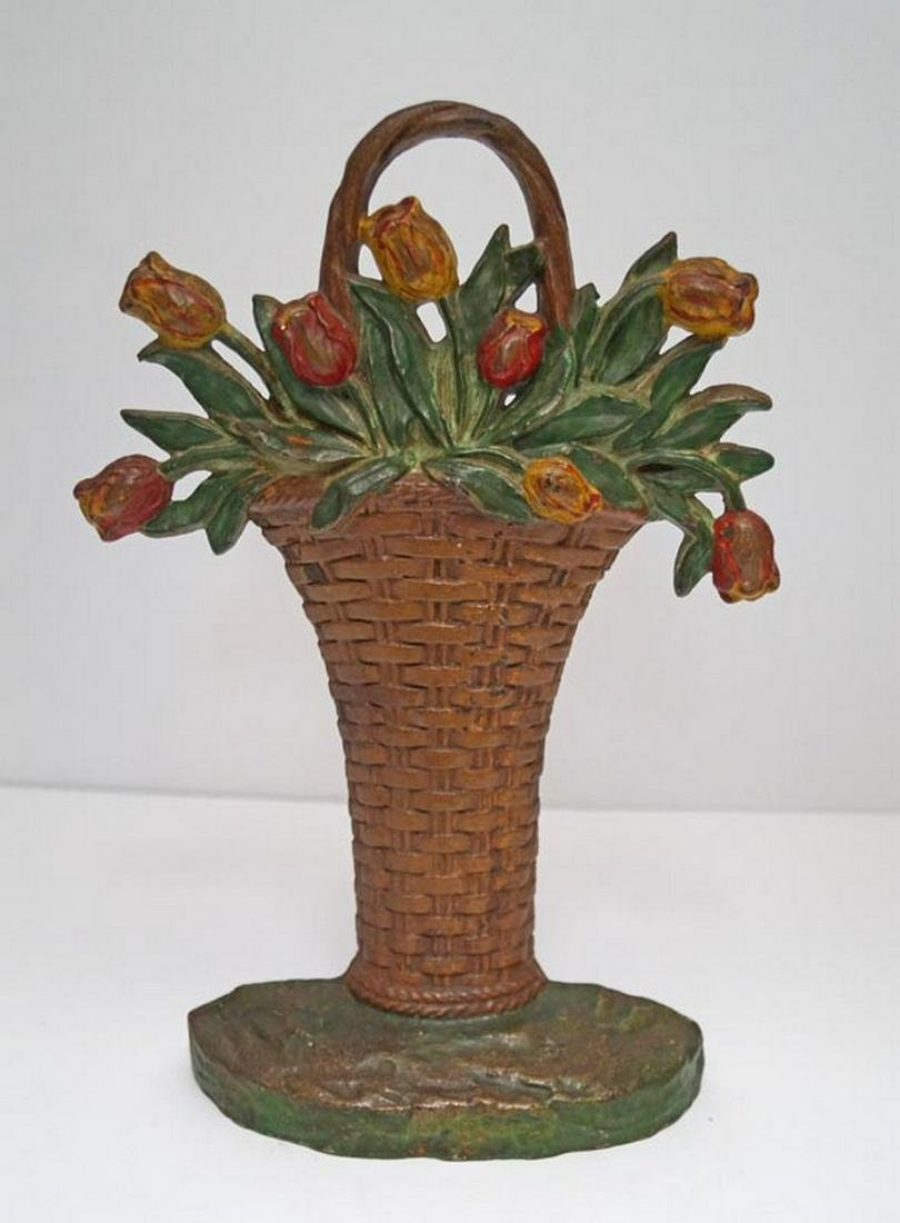Tulip Flowers in Basket Cast Iron Hubley Doorstop