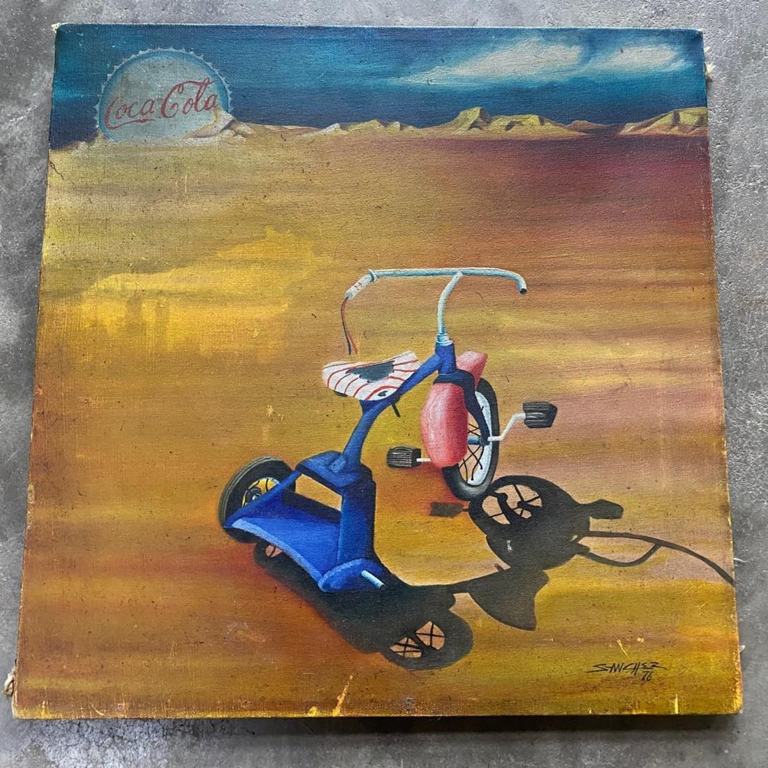 Vintage PopArt Oil On Canvas, signed Sanchez 1976