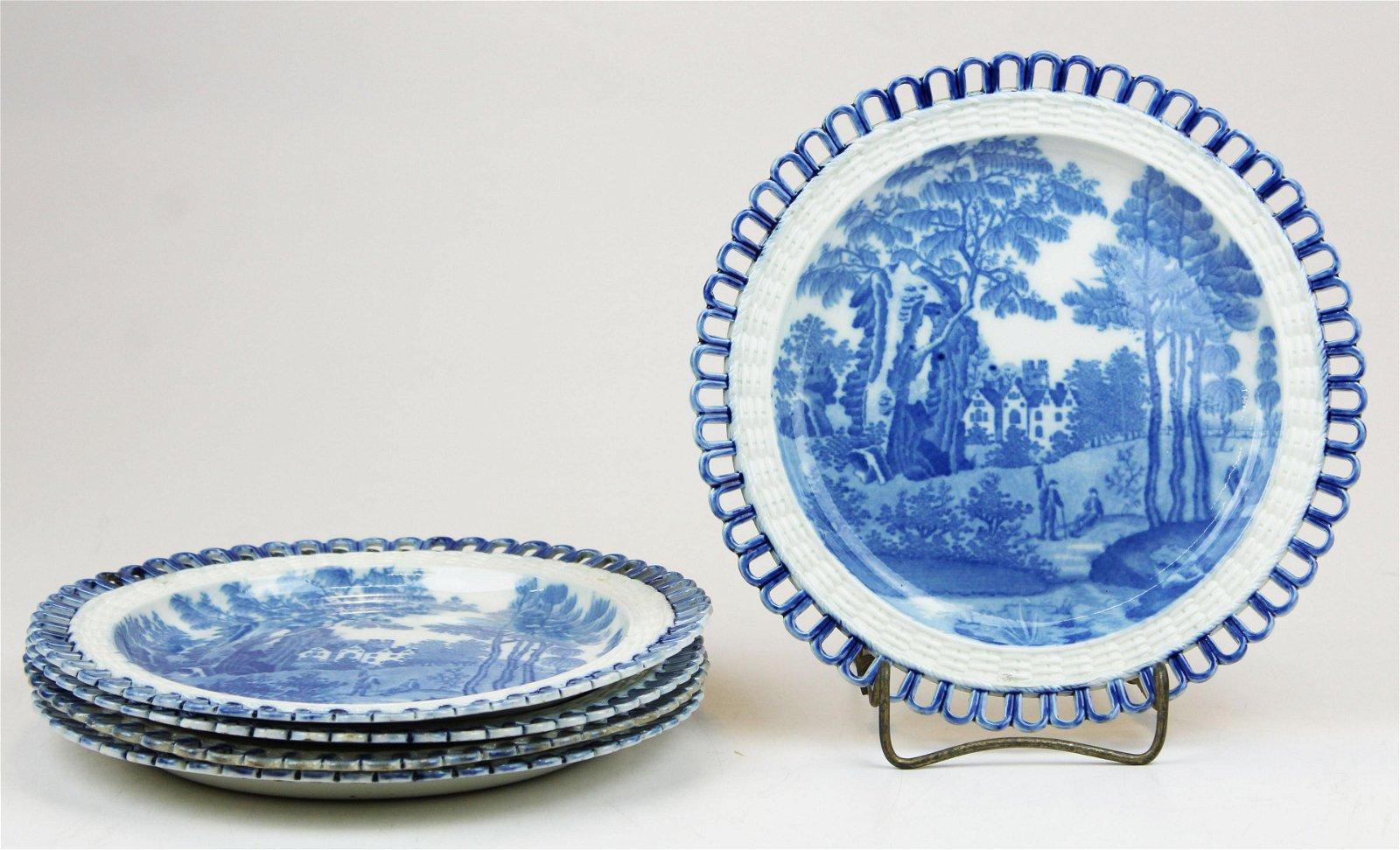 Set of 5 Davenport Reticulated Edge Creamware Plates