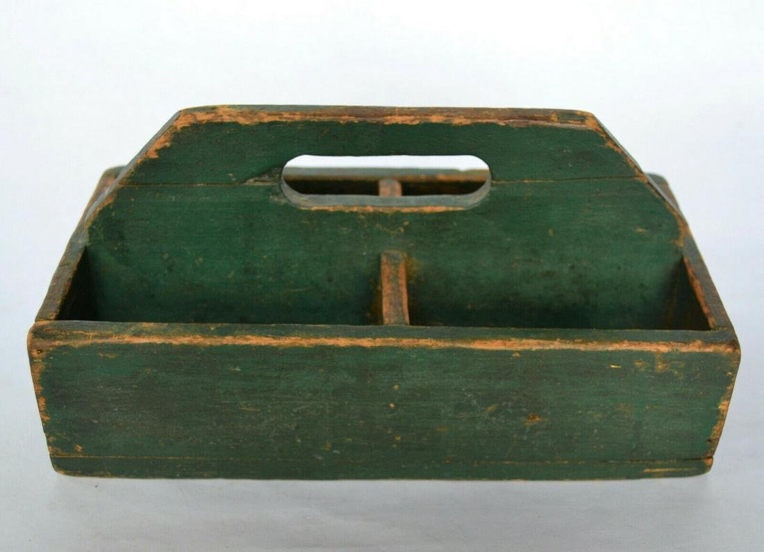 Early American Painted Wood Work Tray