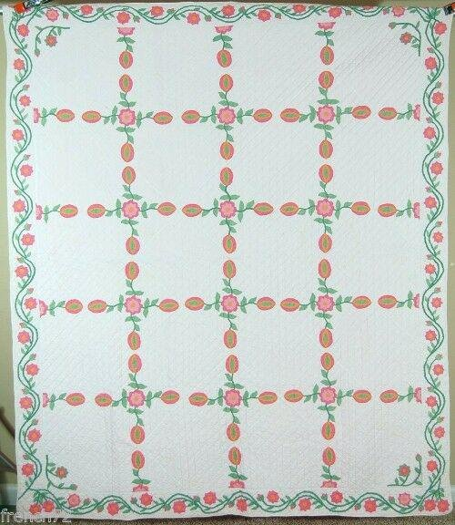 40's Love Apple Floral Applique Antique Quilt
