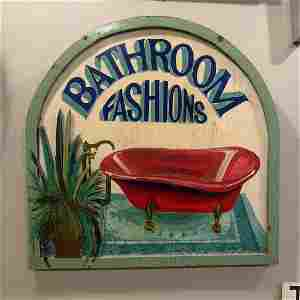 """Fabulous, Antique, """"Bathroom Fashions"""" Wooden Painted"""