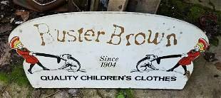 Buster brown shoes sign graphics painted on board
