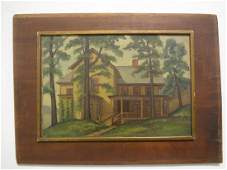 A Realistic Country House Painting On Wood