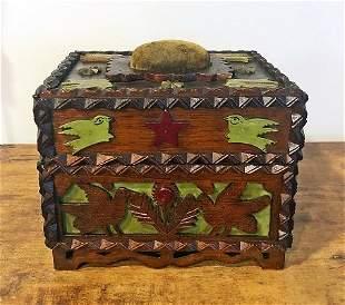 Tramp art Sewing Box w Paint & Figural Carvings