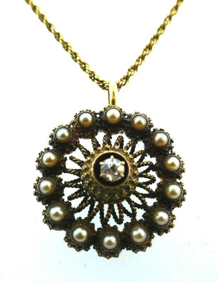 ANTIQUE 14k Yellow Gold, Natural Pearl & Diamond