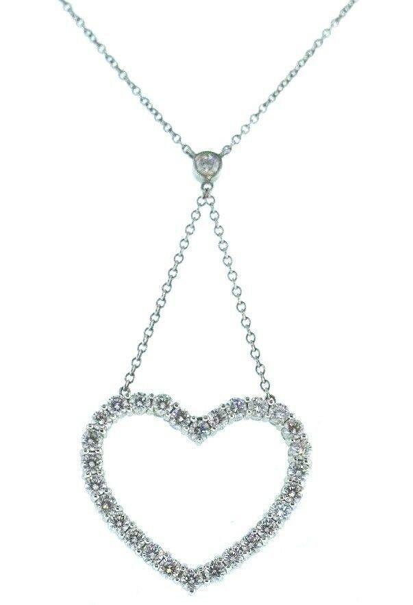 Tiffany and Co Diamond Heart Pendant Platinum Necklace