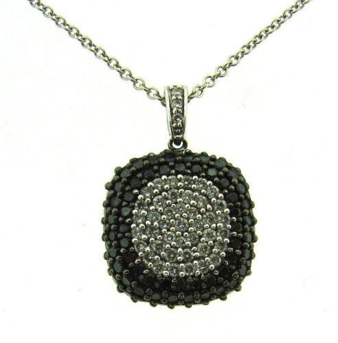 BH 14K WHITE GOLD BLACK & WHITE DIAMOND PENDANT CHAIN