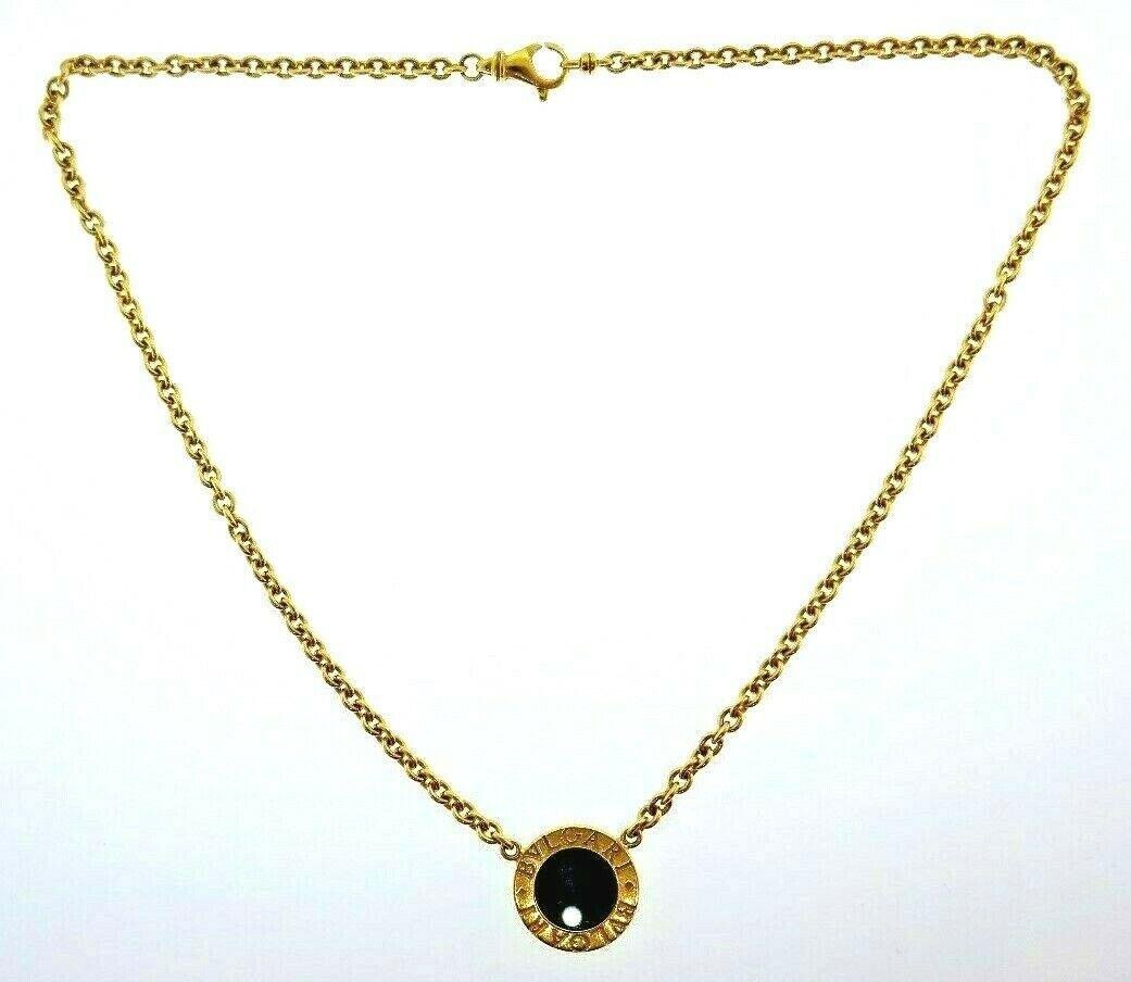 BVLGARI Italy 18k Yellow Gold & Onyx Necklace Modern