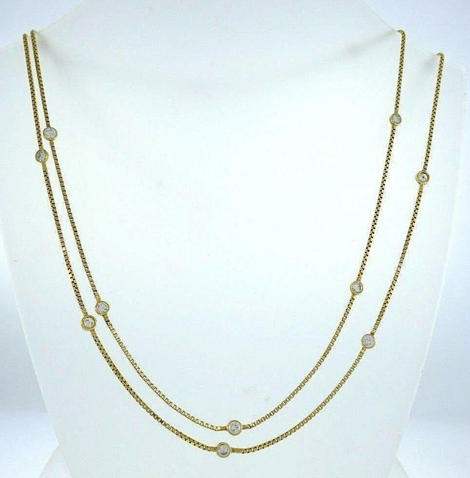 14k Yellow Gold White Sapphire Box Chain Necklace
