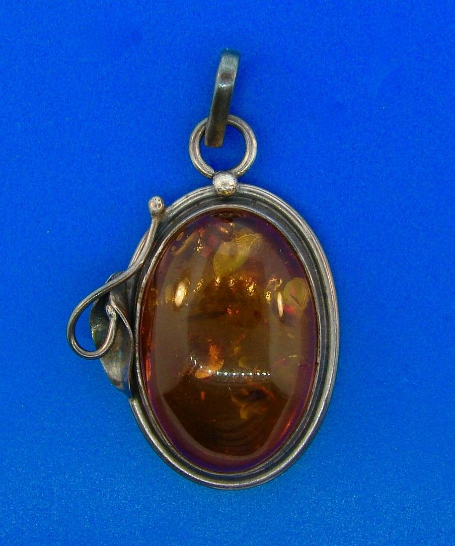 Amber Oxidized Sterling Silver Oval Pendant