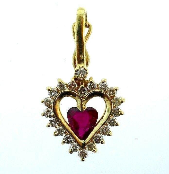 14k Yellow Gold Diamond Ruby Heart Charm Pendant
