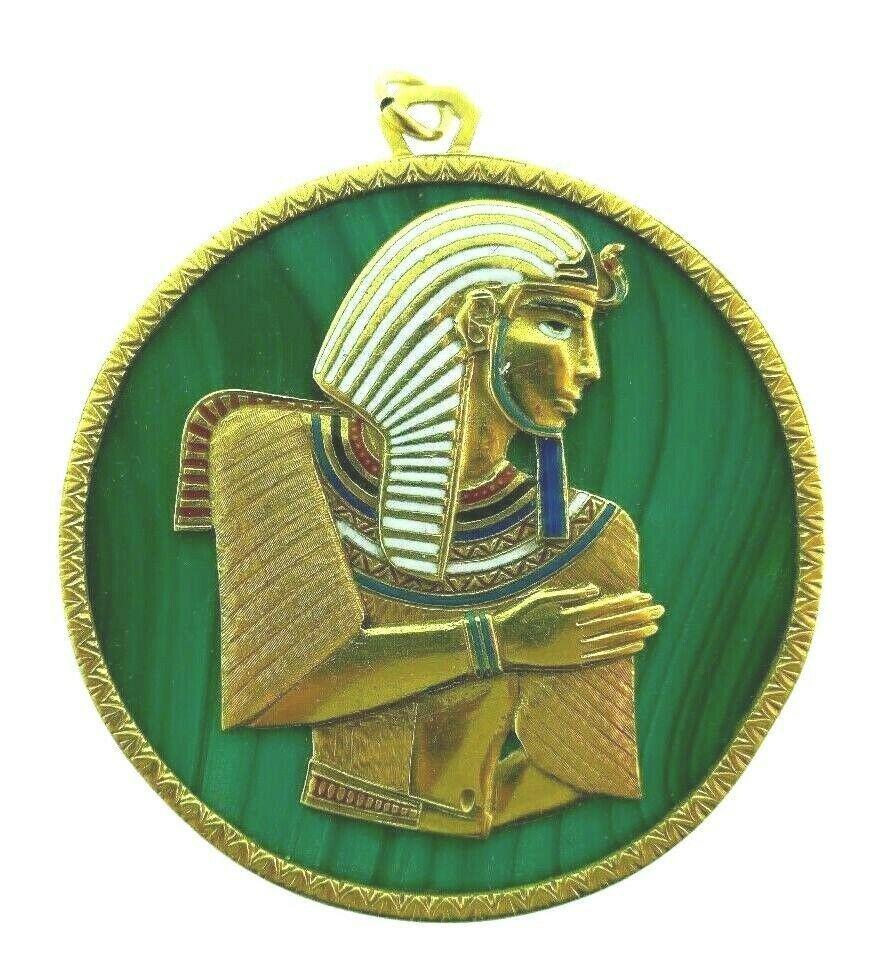 VINTAGE 18k Yellow Gold, Malachite & Enamel Egyptian