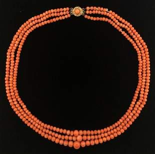 Victorian Mediterranean Coral Beaded 3 String Necklace