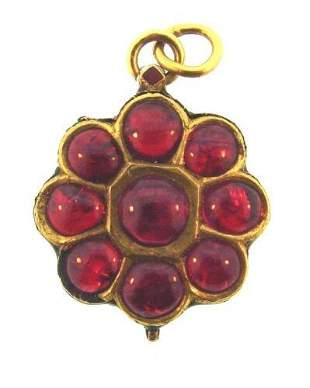 BEAUTIFUL Indian 18k Yellow Gold, Enamel & Ruby Pendant