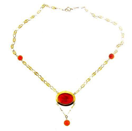 STUNNING 14k Yellow Gold & Cornelian Necklace Circa