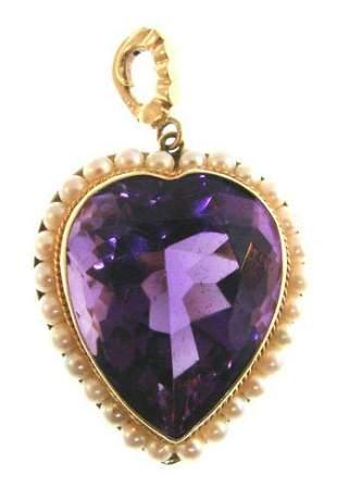 CHIC 14k Yellow Gold Amethyst Pearl Heart Pendant