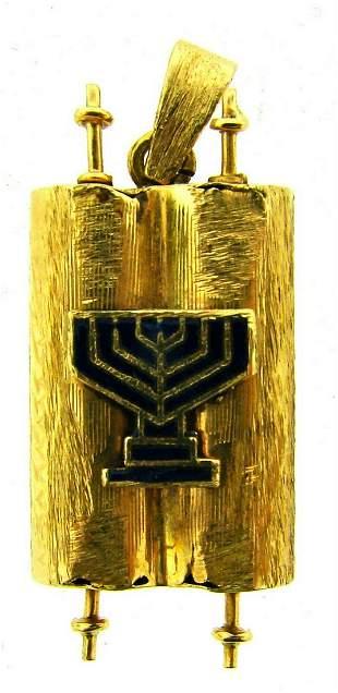 COLLECTIBLE 14k Yellow Gold & Enamel Judaica Pendant!