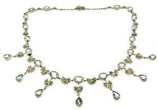 STUNNING 18k White Gold Diamond Aquamarine Bow