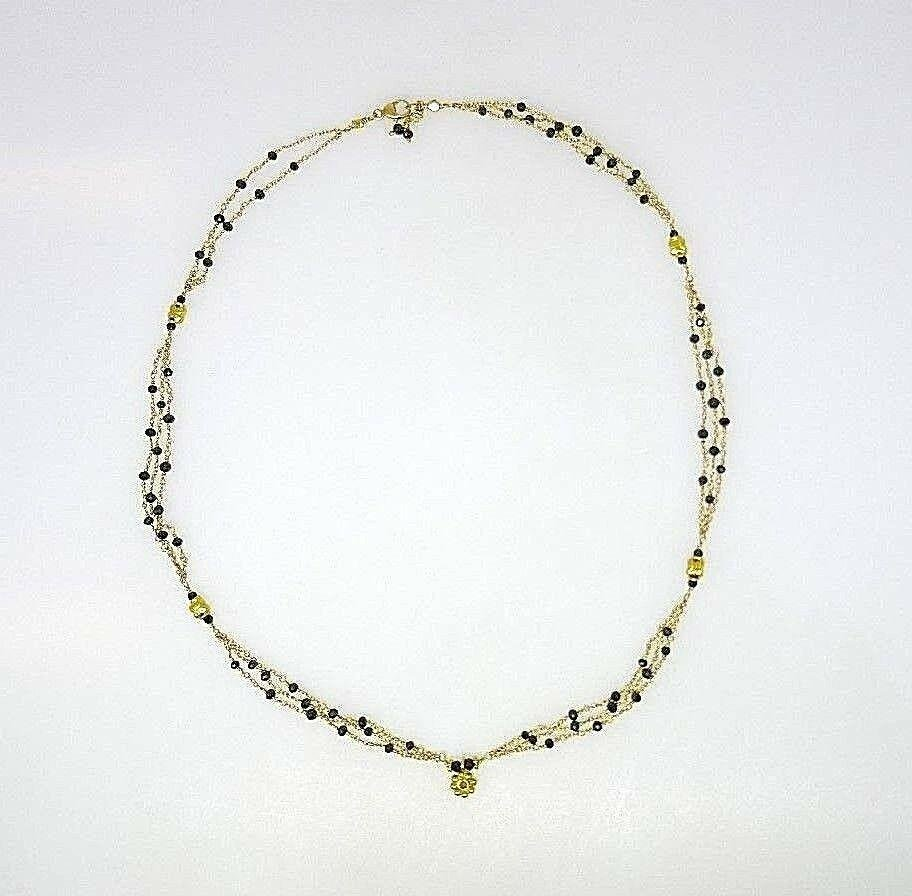 18k YELLOW GOLD CHAIN NECKLACE WITH BLACK 6c DIAMONDS