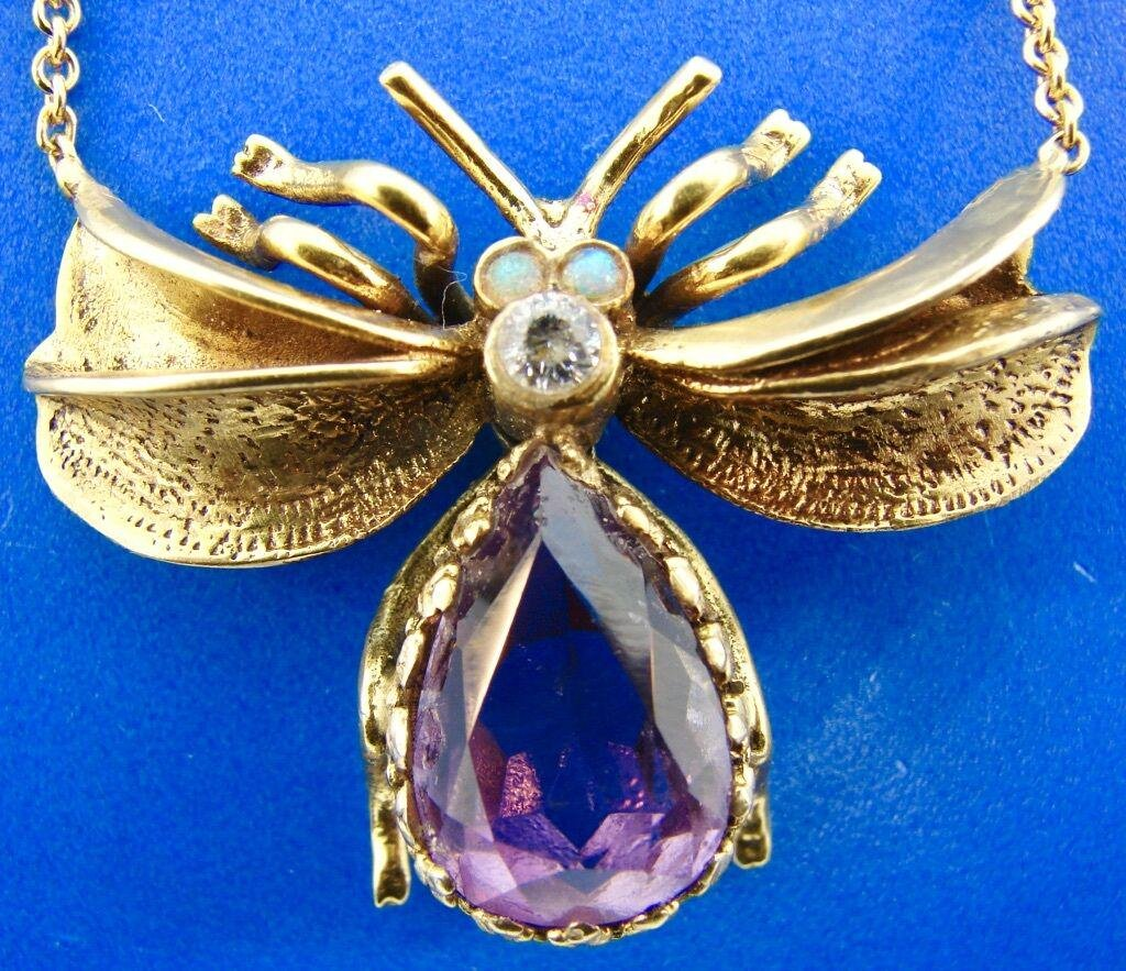 14k Bug Insect Fly Necklace with Amethyst, Opal &