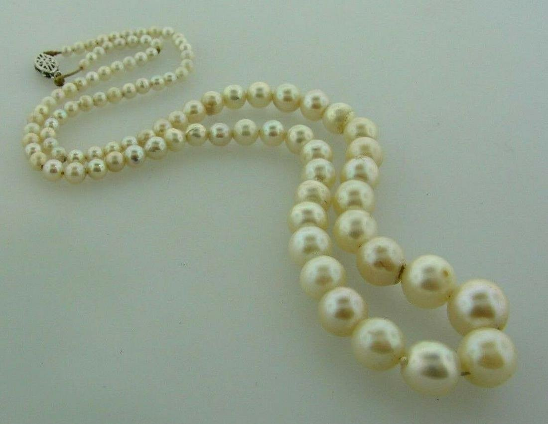 BEAUTIFUL PEARL NECKLACE STRAND 10K WHITE GOLD CLASP