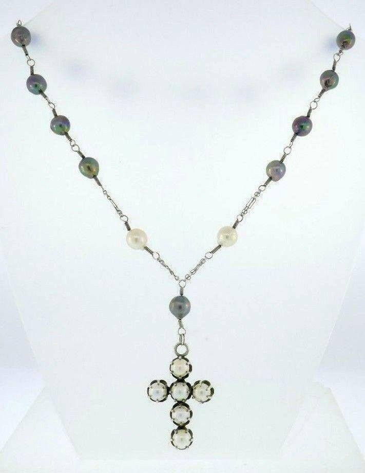 Sterling Silver Tahitian Pearl Cross Necklace