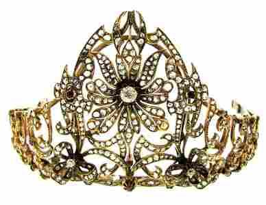 YELLOW GOLD DIAMOND AND RUBIES PERSIAN TIARA