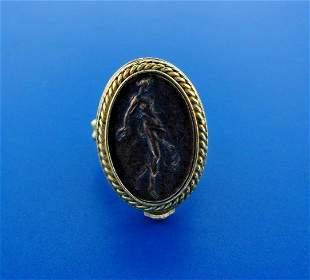 WOW Designer 18k Yellow Gold & Bronze Signet Ring
