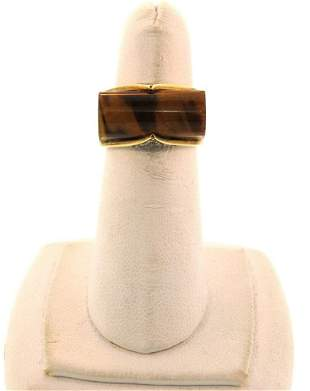 CLASSY Tiger's Eye & Diamond 14k Yellow Gold Ring