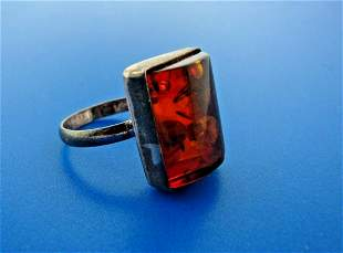 UNIQUE Sterling & Amber Ring