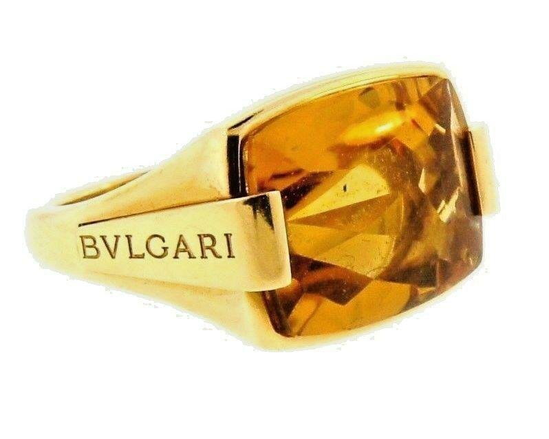 GROOVY Bvlgari 18k Yellow Gold & Citrine Ring Circa