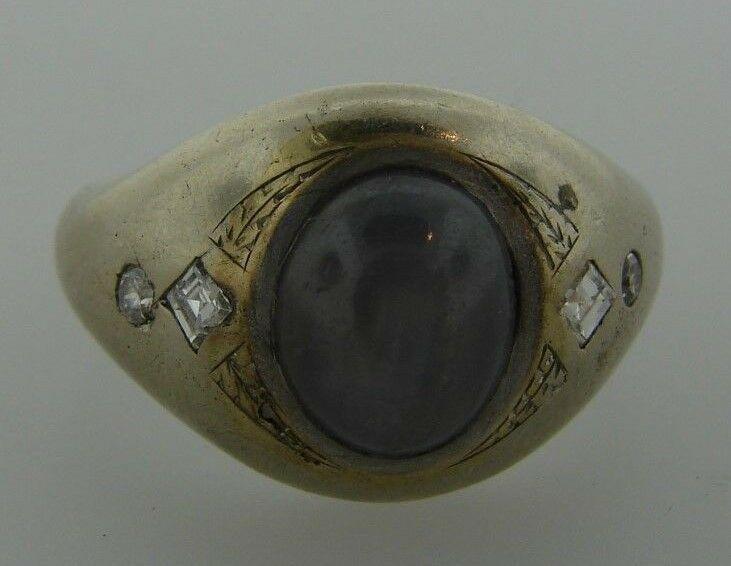 GORGEOUS 14k White Gold, Diamond & Star Sapphire Ring